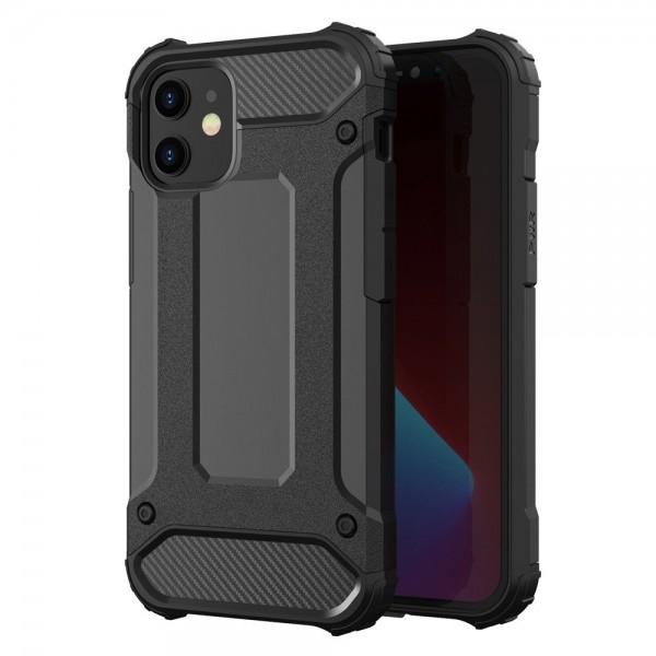 Husa Spate Upzz Hybrid Armor iPhone 12 / iPhone 12 Pro ,antishock -negru imagine itelmobile.ro 2021