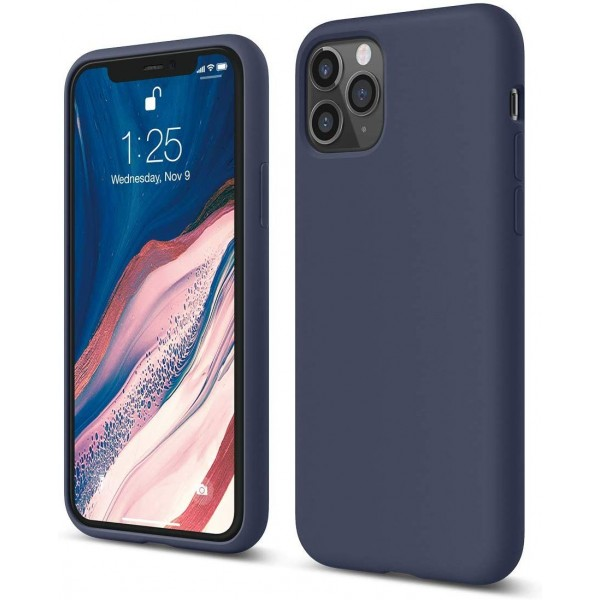 Husa Silicon Apple Style Fara Logo iPhone 12 Pro Max , Interior Alcantara Navy Albastru imagine itelmobile.ro 2021