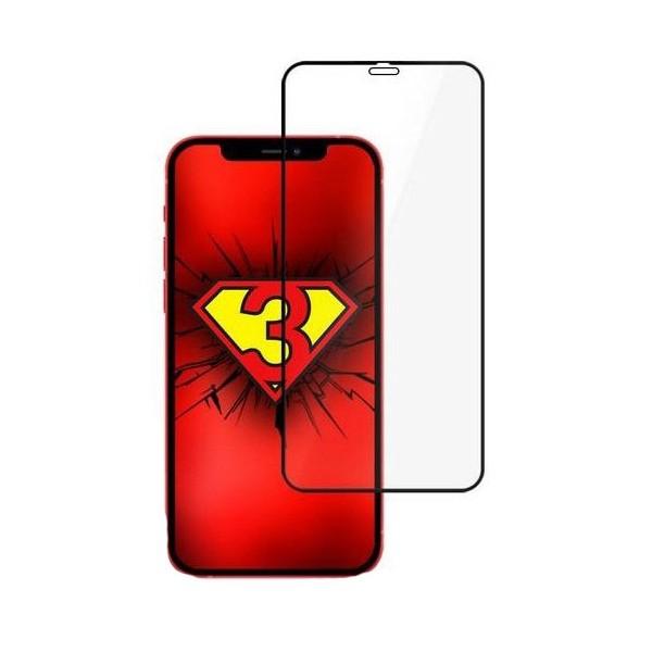 Folie Full Cover Nano Glass Hybrid 3mk Pentru iPhone 12 Mini ,transparenta Cu Rama Neagra imagine itelmobile.ro 2021