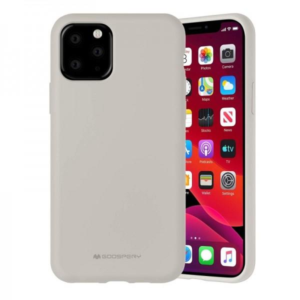 Husa Spate Mercury Silicone iPhone 12 / iPhone 12 Pro ,cu Interior Alcantara , Crem imagine itelmobile.ro 2021