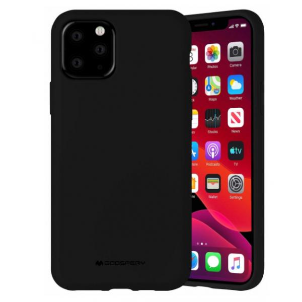 Husa Spate Mercury Silicone iPhone 12 / iPhone 12 Pro ,cu Interior Alcantara , Negru imagine itelmobile.ro 2021