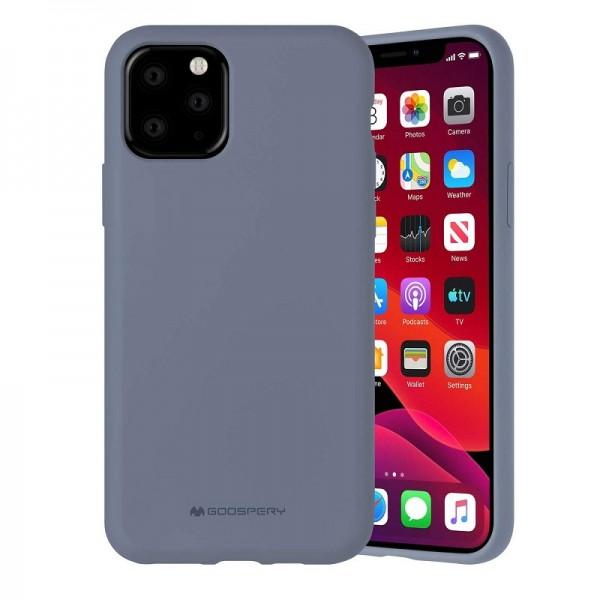 Husa Spate Mercury Silicone iPhone 12 Pro Max ,cu Interior Alcantara , Lavander Gri imagine itelmobile.ro 2021