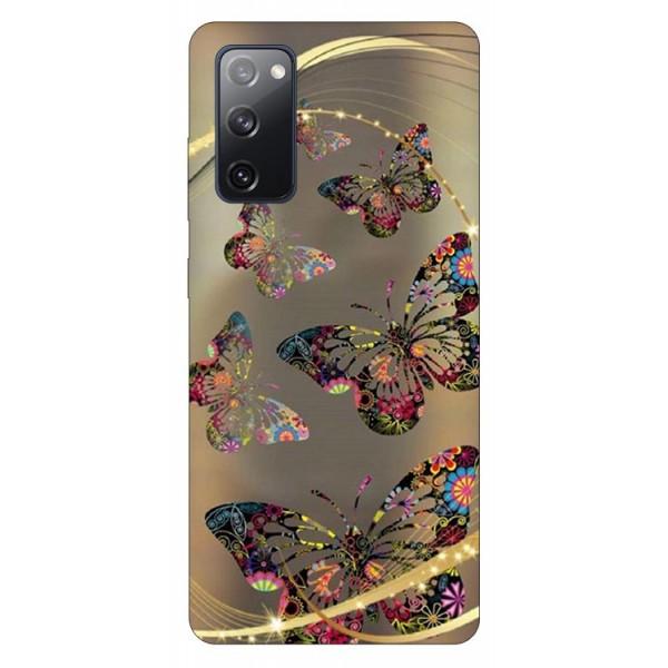 Husa Silicon Soft Upzz Print Samsung Galaxy S20 Fe Model Golden Butterfly imagine itelmobile.ro 2021