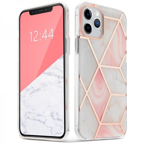 Husa Spate Upzz Tech Marble 2 Pentru iPhone 12 Mini ,roz imagine itelmobile.ro 2021