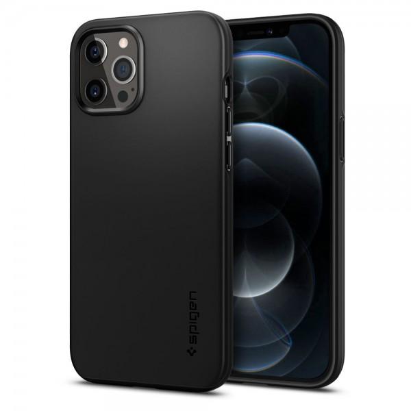 Husa Premium Originala Spigen Thin Fit iPhone 12 Pro Max Negru imagine itelmobile.ro 2021