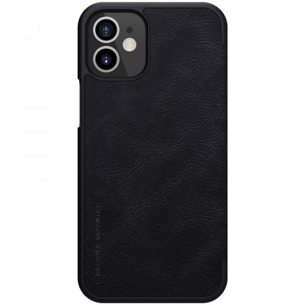 Husa Flip Cover Book Premium Nillkin Qin iPhone 12 Mini , Negru imagine itelmobile.ro 2021
