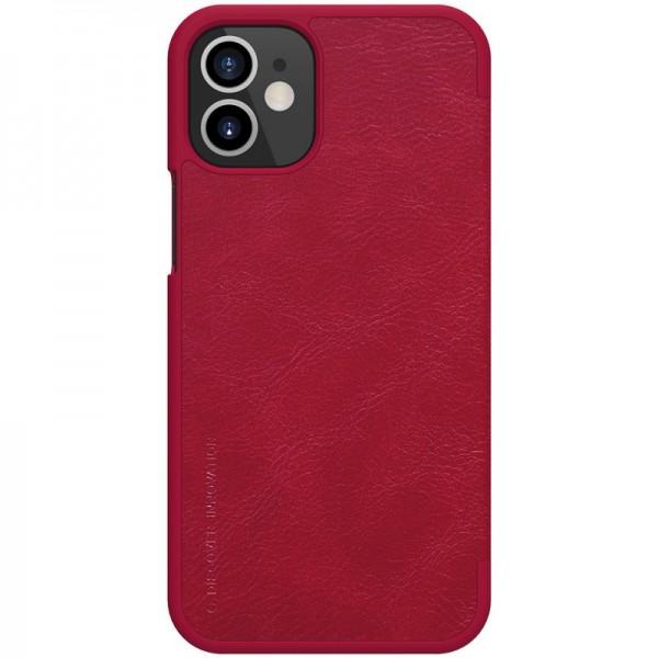 Husa Flip Cover Book Premium Nillkin Qin iPhone 12 Mini , Rosu imagine itelmobile.ro 2021