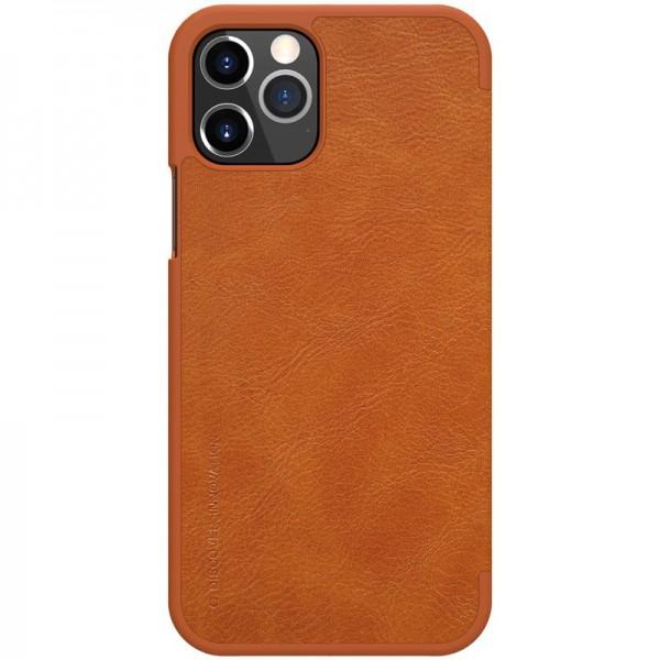 Husa Flip Cover Book Premium Nillkin Qin iPhone 12 / iPhone 12 Pro, Maro imagine itelmobile.ro 2021