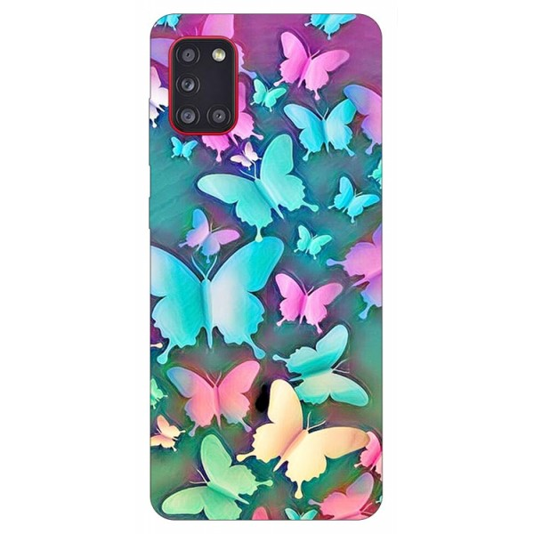 Husa Silicon Soft Upzz Print Samsung Galaxy A31 Model Colorfull Butetrflies imagine itelmobile.ro 2021