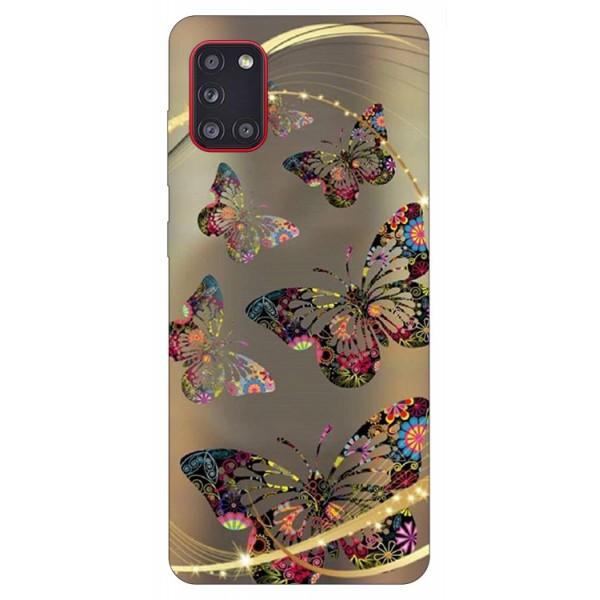 Husa Silicon Soft Upzz Print Samsung Galaxy A31 Model Golden Butetrfly imagine itelmobile.ro 2021