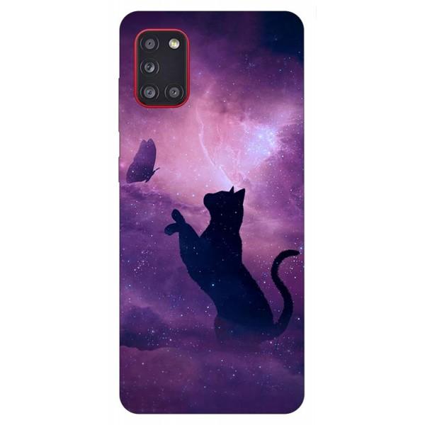 Husa Silicon Soft Upzz Print Samsung Galaxy A31 Model Shadow Cat imagine itelmobile.ro 2021