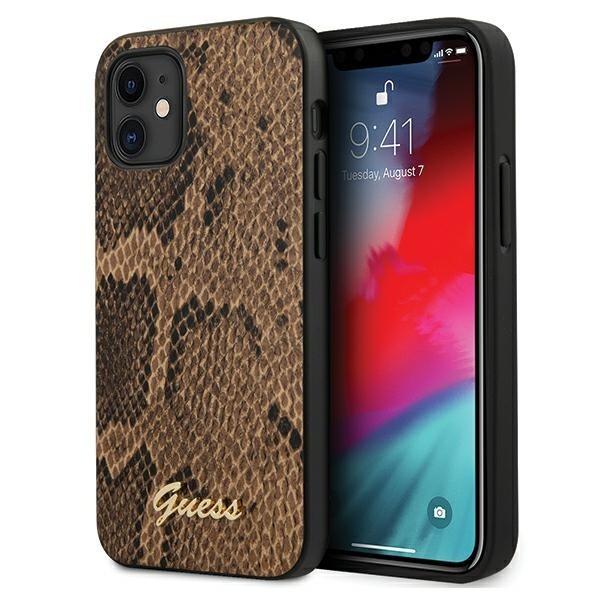 Husa Premium Originala Guess iPhone 12 Mini, Colectia Python, Maro - Guhcp12spusnsmlbr imagine itelmobile.ro 2021