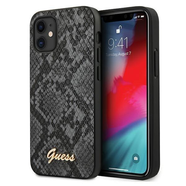 Husa Premium Originala Guess iPhone 12 Mini, Colectia Python, Negru - Guhcp12spusnsmlbk imagine itelmobile.ro 2021
