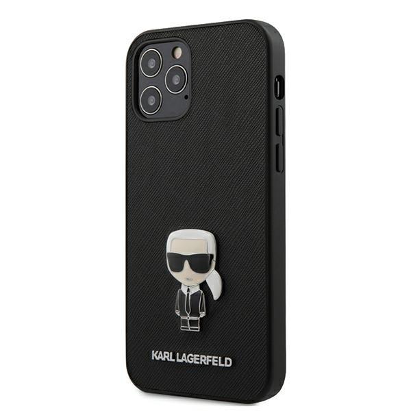 Husa Premium Karl Lagerfeld iPhone 12 / iPhone 12 Pro, Colectia Saffiano Ikonik Metal ,negru - Klhcp12mikmsbk imagine itelmobile.ro 2021
