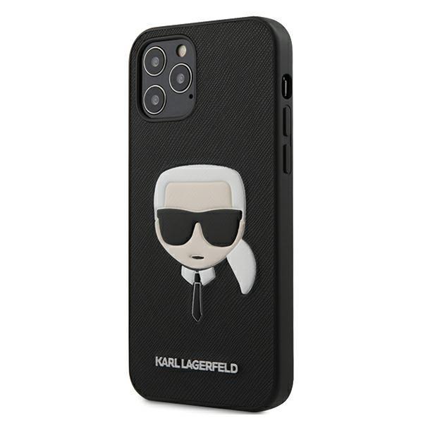 Husa Premium Karl Lagerfeld iPhone 12 Pro Max, Colectia Saffiano Ikonik Karl ,negru - Klhcp12lsakhbk imagine itelmobile.ro 2021