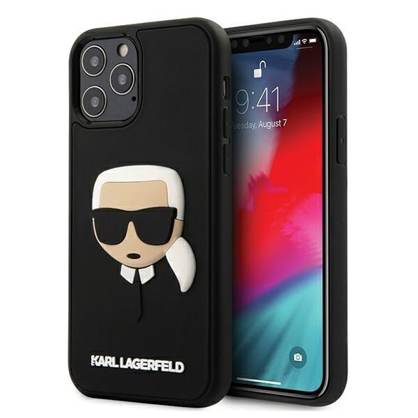 Husa Premium Karl Lagerfeld iPhone 12 / iPhone 12 Pro , Colectia 3d Rubber Karl Head, Negru - Klhcp12mkh3dbk imagine itelmobile.ro 2021