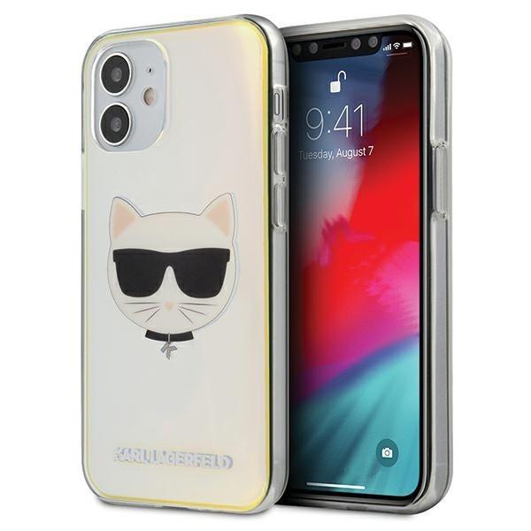 Husa Premium Karl Lagerfeld iPhone 12 Mini ,colectia Multicolor Iridescent Choupette - Klhcp12scir imagine itelmobile.ro 2021