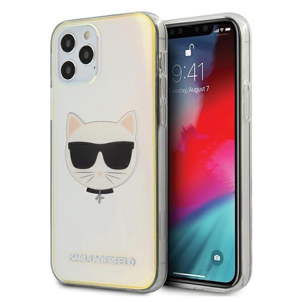 Husa Premium Karl Lagerfeld iPhone 12 / iPhone 12 Pro ,colectia Multicolor Iridescent Choupette - Klhcp12mcir imagine itelmobile.ro 2021