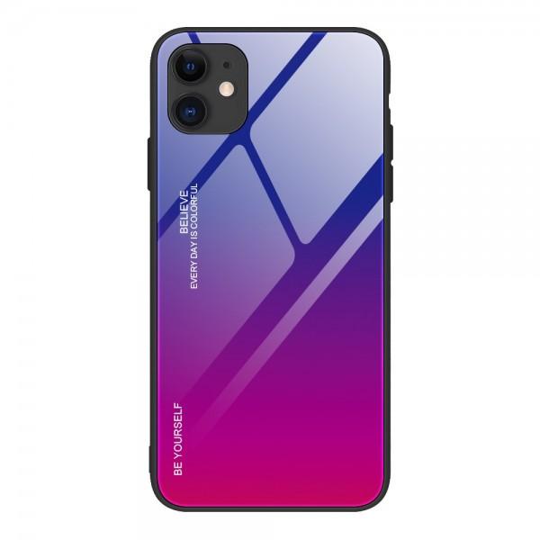 Husa Spate Upzz Gradient Glass Pentru iPhone 12 / iPhone 12 Pro, Spate Sticla Rezistenta , Roz Mov imagine itelmobile.ro 2021