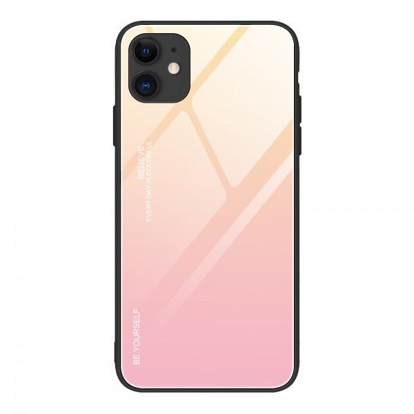 Husa Spate Upzz Gradient Glass Pentru iPhone 12 / iPhone 12 Pro, Spate Sticla Rezistenta , Roz imagine itelmobile.ro 2021