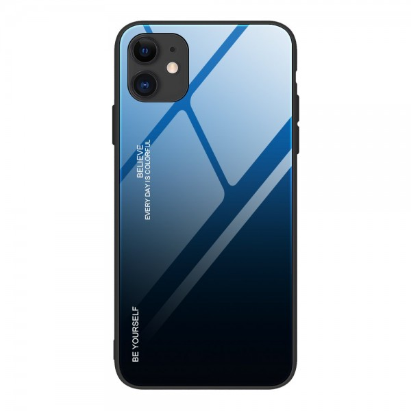 Husa Spate Upzz Gradient Glass Pentru iPhone 12 / iPhone 12 Pro, Spate Sticla Rezistenta , Negru Albastru imagine itelmobile.ro 2021