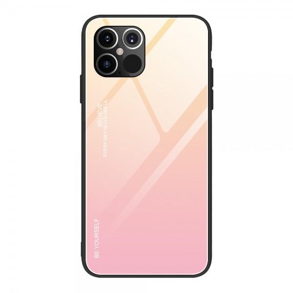 Husa Spate Upzz Gradient Glass Pentru iPhone 12 Pro Max, Spate Sticla Rezistenta , Roz imagine itelmobile.ro 2021