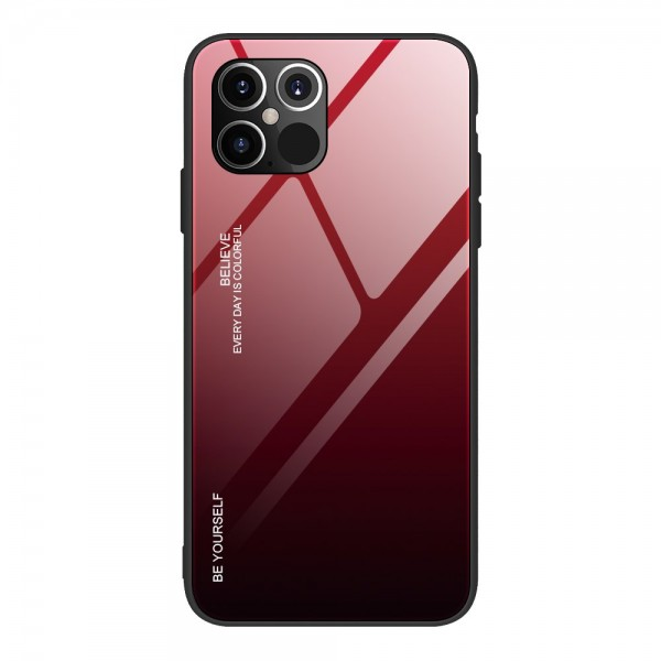 Husa Spate Upzz Gradient Glass Pentru iPhone 12 Pro Max, Spate Sticla Rezistenta , Negru Rosu imagine itelmobile.ro 2021