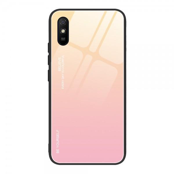 Husa Spate Upzz Gradient Glass Pentru Xiaomi Redmi 9a, Spate Sticla Rezistenta, Roz imagine itelmobile.ro 2021