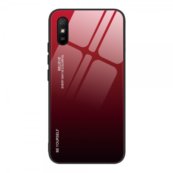 Husa Spate Upzz Gradient Glass Pentru Xiaomi Redmi 9a, Spate Sticla Rezistenta, Rosu Negru imagine itelmobile.ro 2021