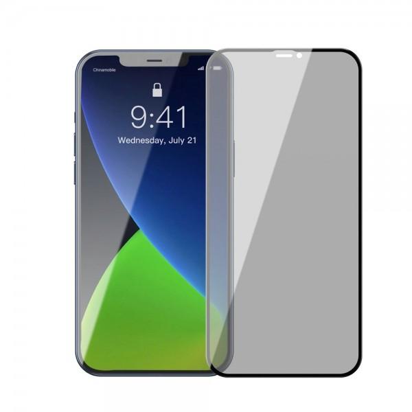 Set 2 X Folie Sticla Securizata Premium Baseus Pentru iPhone 12 Mini , Privacy imagine itelmobile.ro 2021