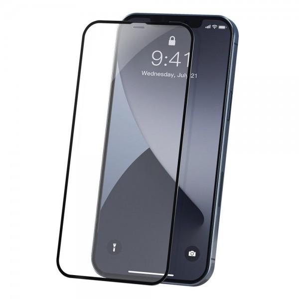 Set 2 X Folie Sticla Securizata Premium Baseus Pentru iPhone 12 / 12 Pro, Transparenta Cu Rama Neagra - Sgapiph61p-pe01 imagine itelmobile.ro 2021