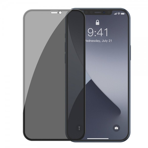 Set 2 X Folie Sticla Securizata Premium Baseus Pentru iPhone 12 / 12 Pro, Privacy Cu Rama Neagra - Sgapiph61p-tg01 imagine itelmobile.ro 2021