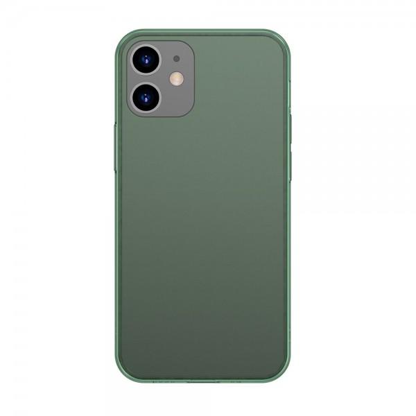 Husa Premium Baseus Cu Spate Sticla Matta Si Rama Din Silicon Pentru iPhone 12 / 12 Pro, Verde imagine itelmobile.ro 2021