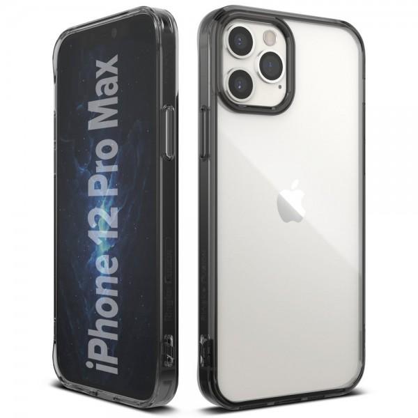 Husa Premium Ringke Fusion X Compatibila Cu iPhone 12 Pro Max, Transparenta Cu Rama Fumurie imagine itelmobile.ro 2021