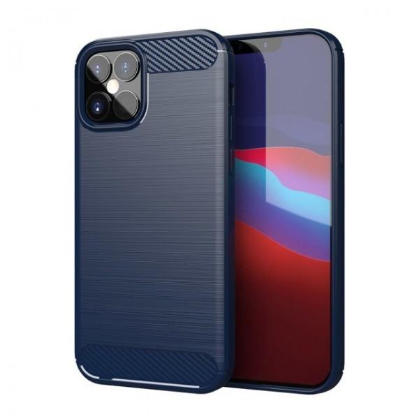 Husa Spate Upzz Carbon Pro iPhone 12 / iPhone 12 Pro, Albastru imagine itelmobile.ro 2021