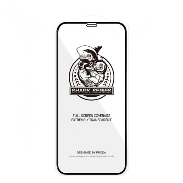 Folie Premium Shark Proda Full Cover iPhone 12 Pro Max, Transparenta Cu Rama Neagra imagine itelmobile.ro 2021