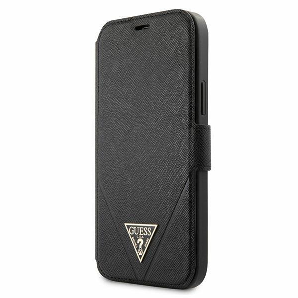 Husa Premium Originala Guess Tip Carte iPhone 12 Pro Max, Colectia Saffiano, Negru - Guflbkp12lvsatmlbk imagine itelmobile.ro 2021