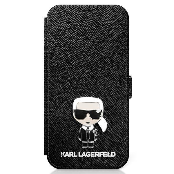 Husa Premium Tip Carte Karl Lagerfeld Compatibila Cu iPhone 12 Mini, Colectia Saffiano Ikonik Metal, Negru - Klflbkp12sikmsbk imagine itelmobile.ro 2021