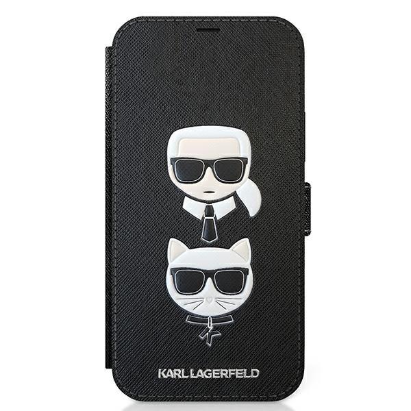 Husa Originala Tip Carte Karl Lagerfeld iPhone 12 / 12 Pro, Colectia Saffiano Karl And Choupette, Negru - Klflbkp12msakickcbk imagine itelmobile.ro 2021