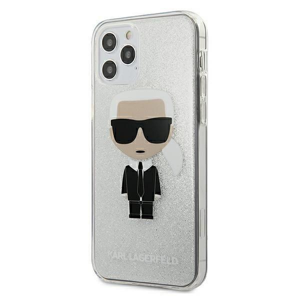 Husa Premium Karl Lagerfeld iPhone 12 / 12 Pro, Glitter Ikonik Karl, Silver - Klhcp12mpcutriksl imagine itelmobile.ro 2021