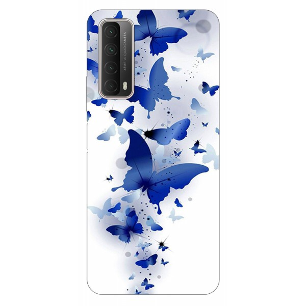 Husa Silicon Soft Upzz Print Huawei P Smart 2021 Model Blue Butterflies imagine itelmobile.ro 2021