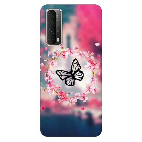 Husa Silicon Soft Upzz Print Huawei P Smart 2021 Model Butterfly imagine itelmobile.ro 2021