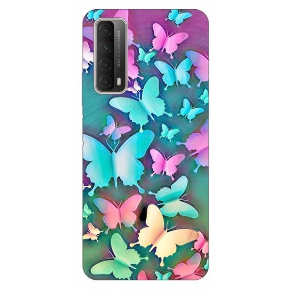 Husa Silicon Soft Upzz Print Huawei P Smart 2021 Model Colorfull Butterflies imagine itelmobile.ro 2021