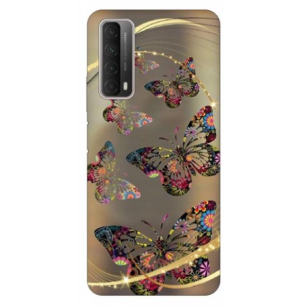Husa Silicon Soft Upzz Print Huawei P Smart 2021 Model Golden Butterfly imagine itelmobile.ro 2021