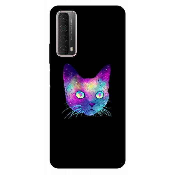 Husa Silicon Soft Upzz Print Huawei P Smart 2021 Model Neon Cat imagine itelmobile.ro 2021