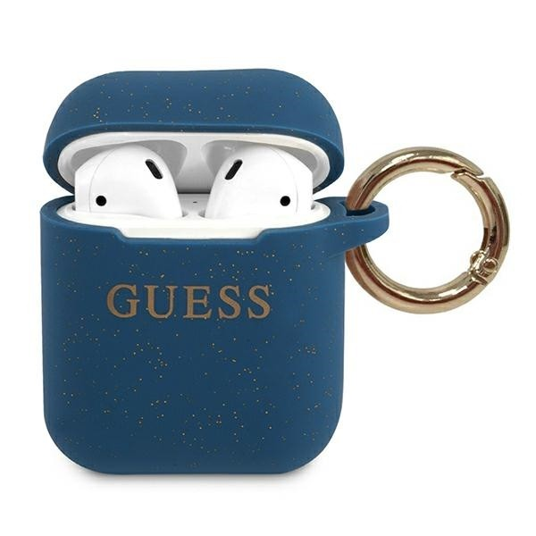 Husa Protectie Originala Guess Compatibila Cu Airpods 1/2 Colectia Silicone Glitter Albastru - Guaccsilglbl imagine itelmobile.ro 2021