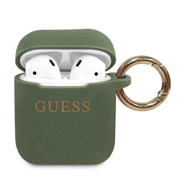 Husa Protectie Originala Guess Compatibila Cu Airpods 1/2 Colectia Silicone Glitter Kaki - Guaccsilglka imagine itelmobile.ro 2021