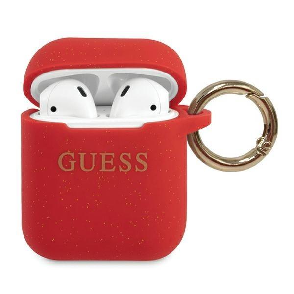 Husa Protectie Originala Guess Compatibila Cu Airpods 1/2 Colectia Silicone Glitter Rosu - Guaccsilglre imagine itelmobile.ro 2021