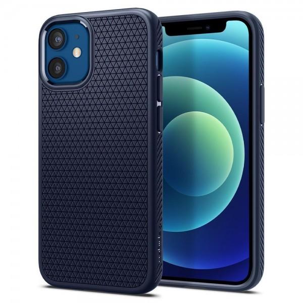 Husa Premium Originala Spigen Liquid Air iPhone 12 Mini, Silicon, Albastru imagine itelmobile.ro 2021