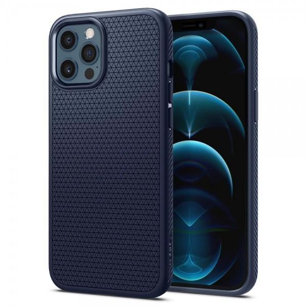 Husa Premium Originala Spigen Liquid Air iPhone 12 Pro Max, Silicon, Albastru imagine itelmobile.ro 2021